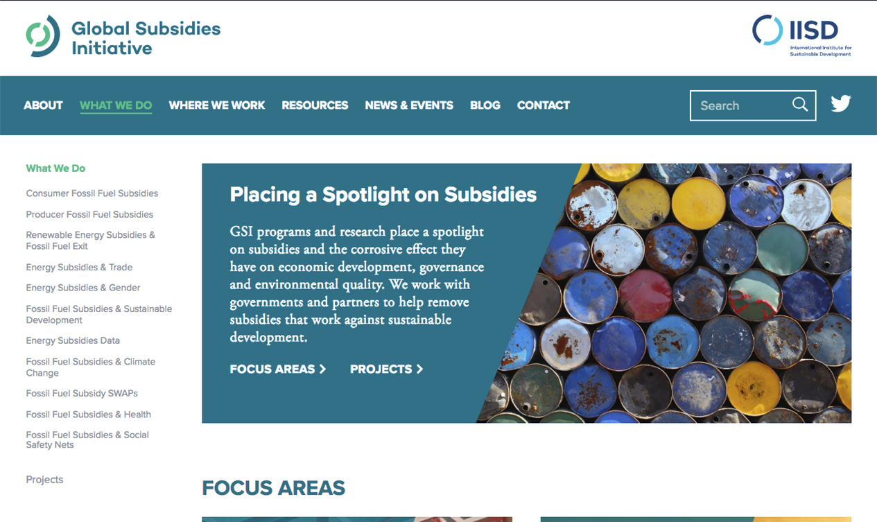 A desktop screen capture of the Global Subsidies Initative site. The main image is colourful oil barrels stacked on top of eachother, with the heading: Placing a Spotlight on Subsidies