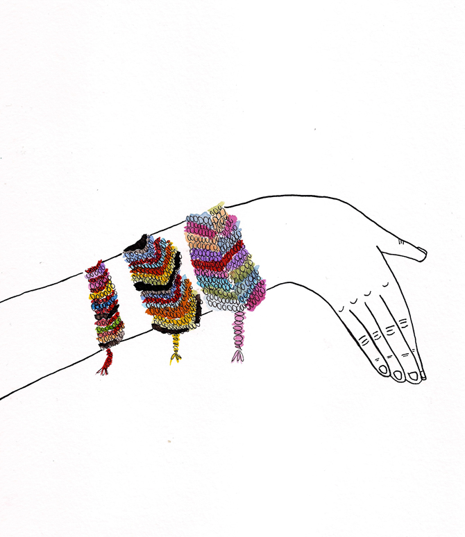 A drawing of a hand wearing a brightly coloured friendship bracelet.