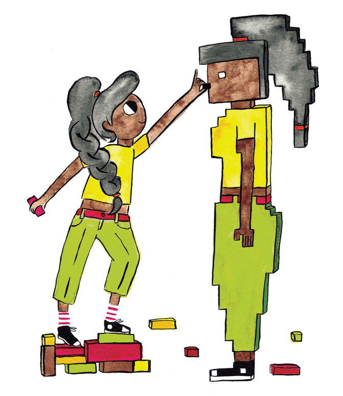A drawing of a teen girl wearing brightly coloured clothing and a long braid faces her mirrored self - built in what seems to be blocks or pixels.